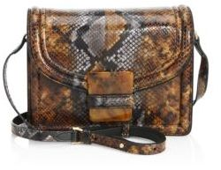 Dries Van Noten Snake-Embossed Leather Shoulder Bag