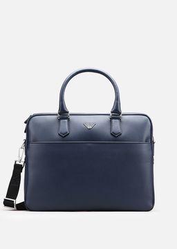 Emporio Armani printed and boarded leather briefcase