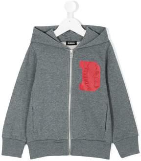 Diesel zipped logo hoodie