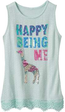 Miss Chievous Girls 7-16 Sequin Applique Lace Trim Knit Tank Top