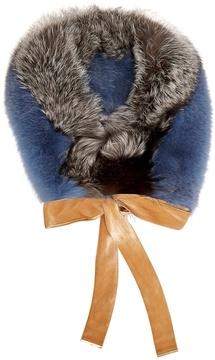 Diane von Furstenberg Contrast-panel fox-fur scarf
