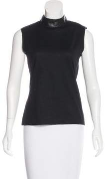 Bally Wool Leather-Trimmed Top