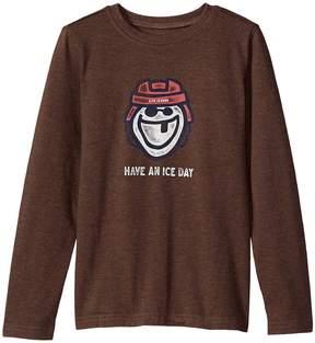 Life is Good Ice Day Hockey Long Sleeve Crusher Tee Boy's T Shirt
