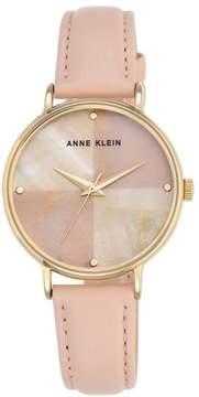 Anne Klein Goldtone Round Pink Dial Leather Strap Watch