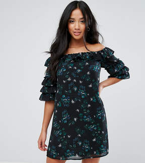 Fashion Union Petite Off Shoulder Dress With Ruffle Sleeves In Dark Floral