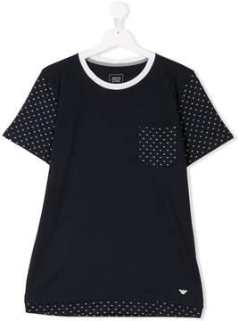 Emporio Armani Kids TEEN logo trimmed T-shirt