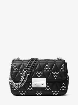 Michael Kors Sloan Large Studded Leather Shoulder Bag - BLACK - STYLE