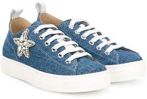 No.21 Kids crystasl star sneakers