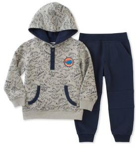 Kids Headquarters Little Boy's Two-Piece Graphic Hoodie and Seamed Jogger Pants Set