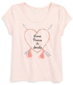 Truly Me Toddler Girl's Love, Peace, Smile Embellished Graphic Tee