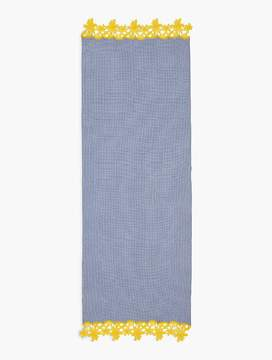 Talbots Gingham Yarn-Dyed Scarf With Embroidery