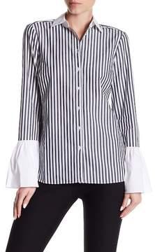 ECI Flounced Sleeve Button Up Shirt
