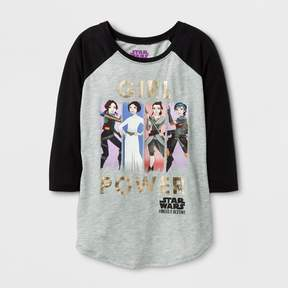 Star Wars Girls' Forces Of Destiny 3/4 Sleeve Raglan T-Shirt - Heather Gray/Black