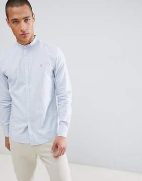 Farah Steen Slim Fit Grandad Collar Shirt In Blue