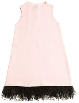 Milly Minis Viscose Knit Dress W/ Feathers