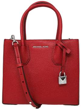 Michael Kors Women's Medium Mercer Bonded Leather Tote Shoulder Bag - Bright Red - BRIGHT RED - STYLE