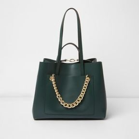 River Island Womens Dark green leather chain winged tote bag