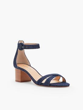Talbots Mimi Cross-Strap Sandals - Cotton Denim