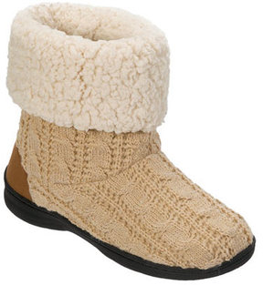 Dearfoams Women's Cable Knit Boot Slipper with Memory Foam
