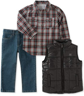 Calvin Klein 3-Pc. Puffer Vest, Plaid Shirt & Jeans Set, Baby Boys (0-24 months)