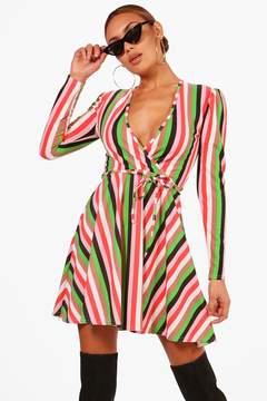 boohoo Colourful Stripe Skinny Tie Skater Dress
