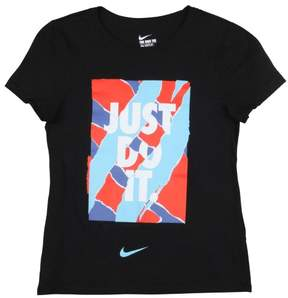 Nike Big Girls' (7-16) Wheatpaste Just Do It T-Shirt-Black