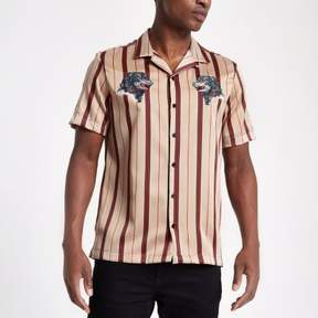 River Island Mens Stone stripe wolf embroidered revere shirt