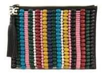 Sam Edelman Multicolor Beaded Canvas Pouch