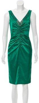 David Meister Embellished Ruched Dress