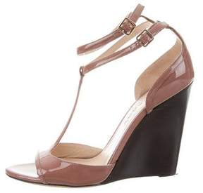 Burberry Patent Leather T-Strap Wedges