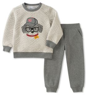 Kids Headquarters Little Boy's Two-Piece Graphic Sweater and Heathered Jogger Pants Set