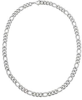 Armani Exchange Jewelry Mens Stainless Steel 24-inch 10mm Figaro Chain Necklace.