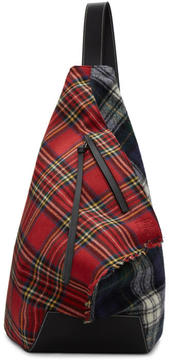 Loewe Red and Black Tartan Anton Backpack