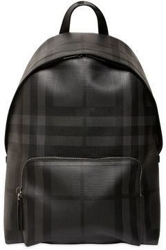 Check Faux Leather Backpack