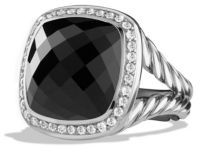 David Yurman Albion Ring with Diamonds and Faceted Black Onyx