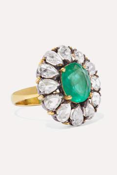 Amrapali 18-karat Gold, Sterling Silver, Diamond And Emerald Ring
