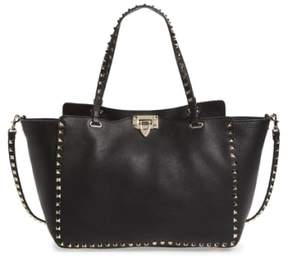 Valentino Garavani 'Rockstud' Grained Calfskin Leather Tote - Black