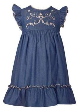 Iris & Ivy Little Girl's Embroidered Denim Dress