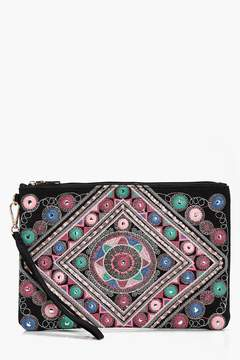 boohoo Kate Mirrored Embroidery Oversize Clutch