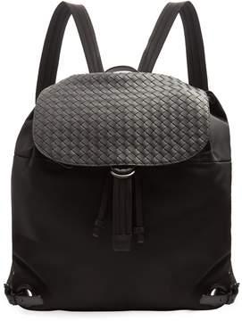 Bottega Veneta Canvas and intrecciato leather backpack