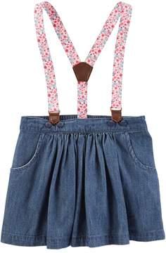 Osh Kosh Oshkosh Bgosh Toddler Girl Floral Suspender Chambray Skirt