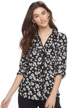 Candies Juniors' Candie's Piped Roll-Tab Blouse