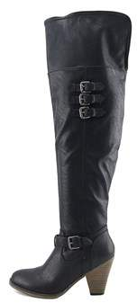 Mia Womens Farley Leather Almond Toe Over Knee Fashion Boots.