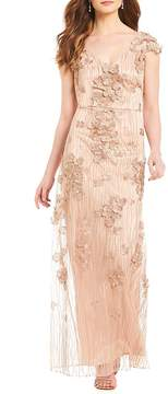 David Meister 3-D Embroidery Gown