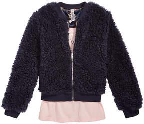 Beautees 2-Pc. Faux-Fur Bomber Jacket, Printed Tank & Necklace Set, Big Girls (7-16)