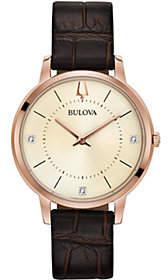Bulova Women's Rosetone Leather Strap Diamond Watch