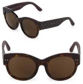 Bottega Veneta 54MM Round Quilted Sunglasses