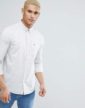 Hollister Logo Pocket Textured Slim Fit Shirt in Gray Marl