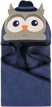 Hudson Baby Blue & Gray Mr. Owl Animal Face Fleece Hooded Towel - Infant