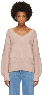 Chloé Pink Oversized Pocket V-Neck Sweater